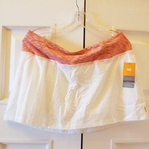 Lucy Tech Athletic Skort Skirt White/Orange NWT L